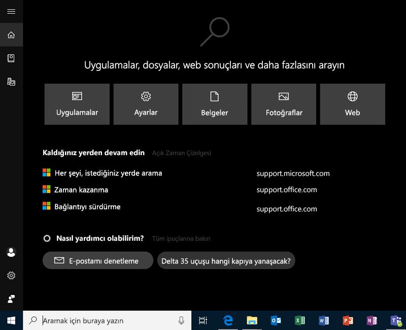 Windows 10'da arama