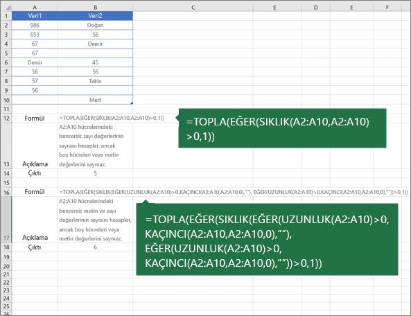 Yinelemeler arasındaki benzersiz değerlerin sayısını saymanın iç içe işlev örnekleri