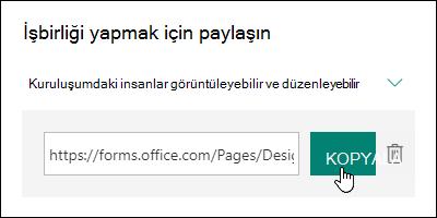 Kopyala ve Sil düğmelerinin yanında bulunan bir form işbirliği URL bağlantısı