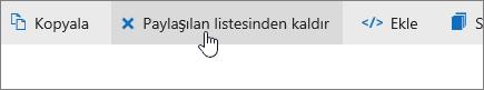 OneDrive.com'da paylaşılan liste düğmesindeki Sil seçeneğini gösteren ekran görüntüsü.