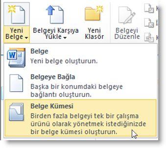 yeni belge menüsünde belge kümesi komutu