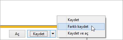 Farkı Kaydet düğmesinin ekran görüntüsü