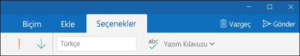Outlook Posta uygulamasında Seçenekler sekmesi