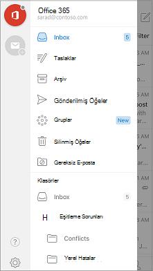 Gezinti çubuğunda Outlook Mobile