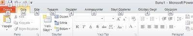 Dosya sekmesindeki klavye kısayolu tuşları