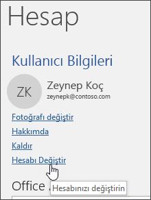 Hesap bilgilerinde hesapların nasıl değiştirildiğini gösteren ekran ipucu