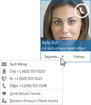 Üst köşede kişinin resmiyle birlikte sesli arama uyarısı ekran görüntüsü