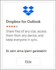 Ücretsiz sağlanan Outlook için Dropbox eklentisi kutucuğunun ekran görüntüsü.