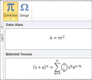 Denklem listesinde önceden biçimlendirilmiş denklemler