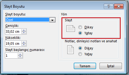 Slayt Boyutu iletişim kutusunda slayt yönünü Dikey veya Yatay olarak değiştirebilirsiniz.