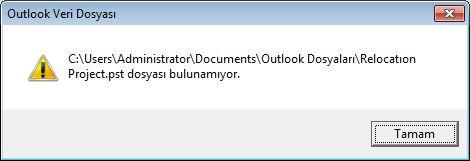 Outlook veri dosyası (.pst) eksik iletişim kutusu