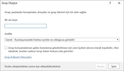 Kullanım kılavuzu bağlantısını kullanarak yeni grup oluşturma