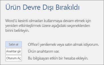 Ürün Devre Dışı Bırakıldı hata iletisini gösteren ekran görüntüsü