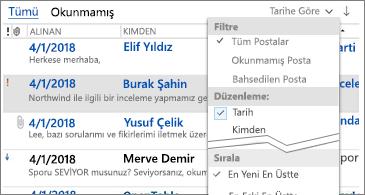 İletileri sıralamak için kullanılabilen filtrelerin listesi