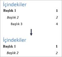 3. düzeyin artık görüntülenmemesi için düzey numarasını değiştirmeyi gösterir