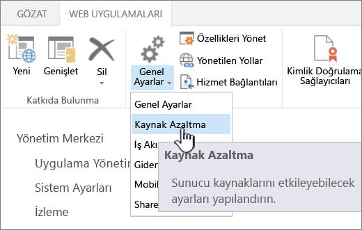 Kaynak Azaltma'nın seçili olduğu Yönetim Merkezi.