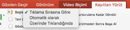 PowerPoint 'te video yürütme seçenekleri