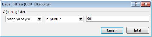 Değer Filtresi penceresi