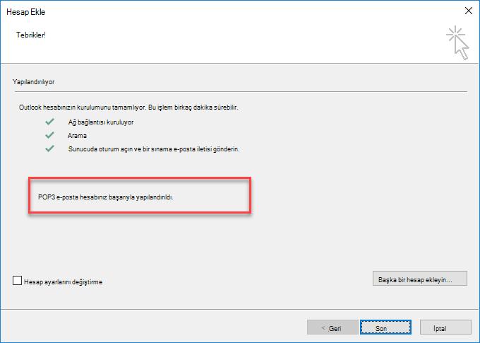 Outlook POP olarak hesap ekleme