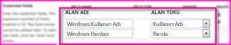 güvenli depolama hedef uygulaması özellikleri sayfasının kimlik bilgisi alanları bölümünün ekran görüntüsü. bu alanlar, hedef için oturum açma kimlik bilgilerinizi belirtmenizi sağlar