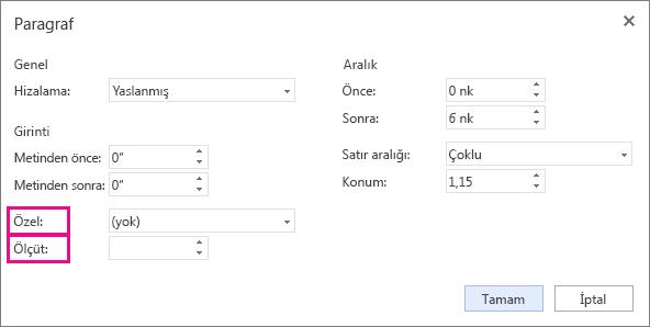 Özel listeden bir girinti türü seçin ve ardından Miktar seçeneğini kullanarak ölçüyü ayarlayın.