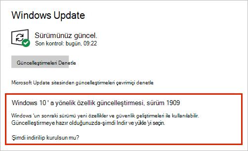 Özellik Güncelleştirme yerleşimini gösteren Windows Update