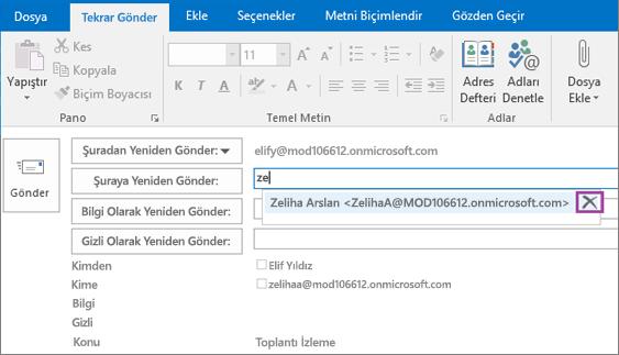 Ekran görüntüsü, e-posta iletisi için Yeniden Gönder seçeneğini gösterir. Yeniden gönder alanında, Otomatik Tamamlama özelliği alıcı adı için yazılan birkaç harf temelinde alıcının e-posta adresini sağlar.