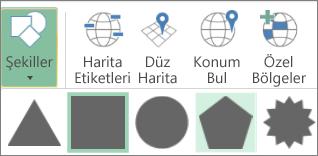 3B Haritalar Şekiller seçeneği