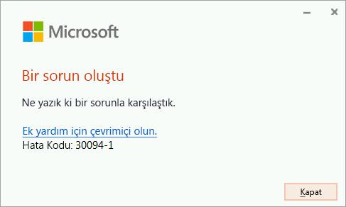 Office'i yüklerken hata kodu 30094-4