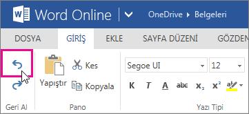Word Online'da bir değişikliği geri alma