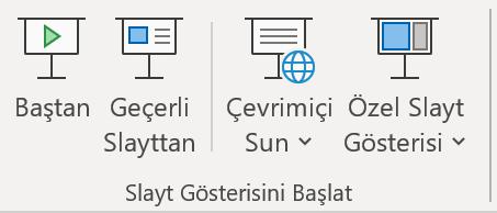 PowerPoint Slayt Gösterisini Başlat sekmesinin ekran görüntüsü.