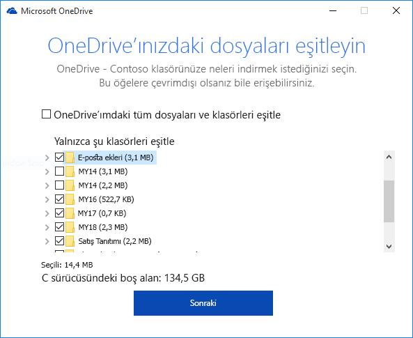 OneDrive İş'i klasörlerini seçerek eşitleme