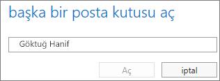 Outlook Web App Başka bir posta kutusu aç iletişim kutusu