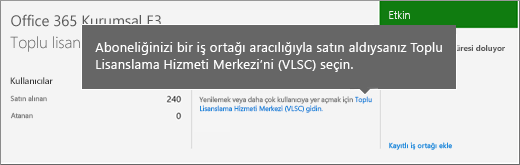 Toplu Lisanslama Hizmeti Merkezi (VLSC) bağlantısı.