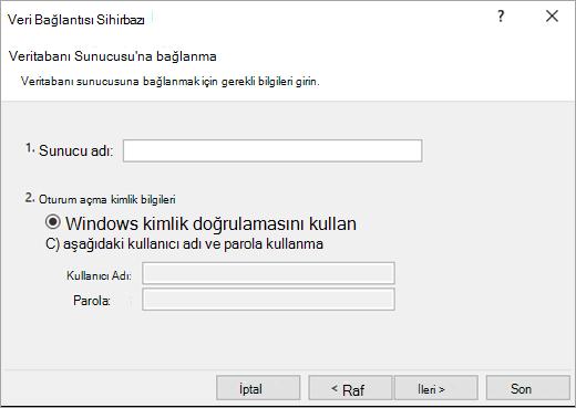 Veri Bağlantı Sihirbazı'nı ekran 1
