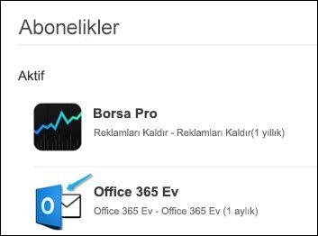Office, Outlook 'un Office 365 'i satın alırken kullanılıyordu.