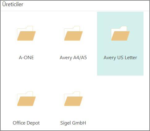 Avery gibi belirli kartpostal üreticilerinin kartpostal şablonlarını bulun.