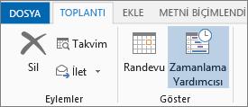Outlook 2013'te Zamanlama Yardımcısı düğmesi.