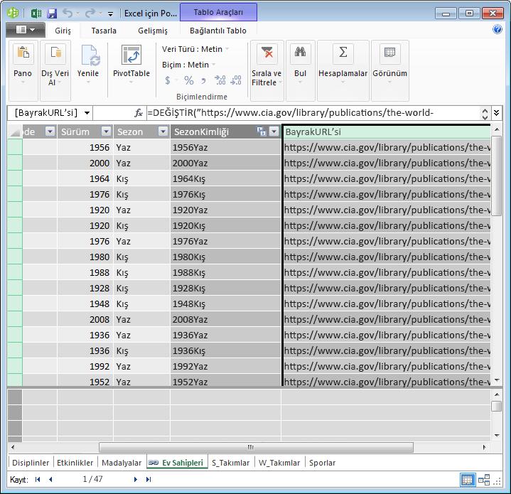 URL alanı oluşturmak için PowerPivot ve DAX