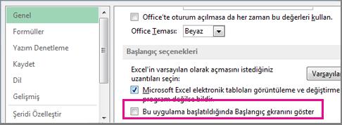 Excel'i açtığınızda başlangıç ekranını kapatmaya yönelik Excel seçeneği