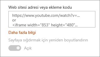 Alana video URL 'si veya ekleme kodu yapıştırma