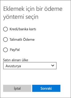 Avusturya için sunulan seçeneklerin gösterildiği Ödeme seçeneği belirleyin menüsü.