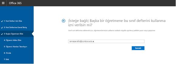 İsteğe bağlı ek öğretmen izinleri adımının ekran görüntüsü.