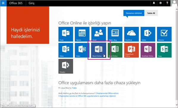 Bir Office Online uygulaması seçin