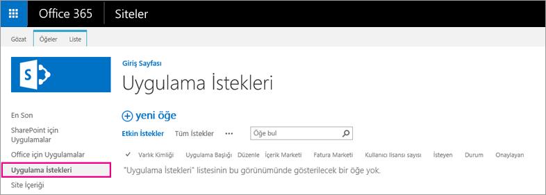 Uygulama İsteği bağlantısını gösteren ekran görüntüsü