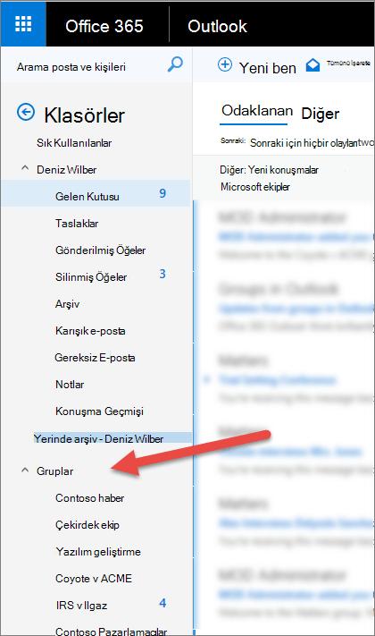 Şunları gruplarınızdan sol gezinti bölmesinde Outlook veya web üzerinde Outlook'ta bulabilirsiniz: