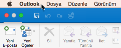 Hangi Outlook sürümüne sahip olduğunuzu görmek için, menü çubuğunuzda Outlook'u seçin.
