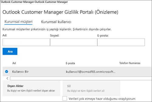 Ekran görüntüsü: Verme Outlook müşteri Yöneticisi müşterinin veri