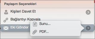 Mac için PPT Paylaşım E-posta Seçenekleri
