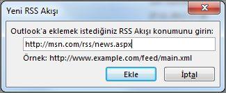 RSS Akışının URL'sini girin